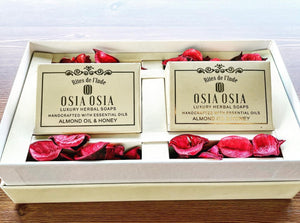 Premium Box of Almond Oil with Honey Handcrafted Luxury Herbal Soaps (Set of 2) 蜂蜜杏仁精油手工皂禮盒(一盒2件)