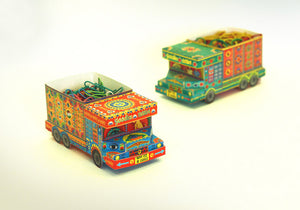 DIY 'Goodies Carrier' Truck container: Blue n Red design DIY迷你紙製印度卡車模型:藍色+紅色手繪