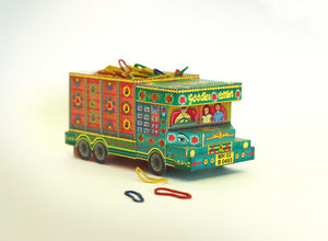 DIY 'Goodies Carrier' Truck container: Green n Red design DIY迷你紙製印度卡車模型:綠色+紅色手繪