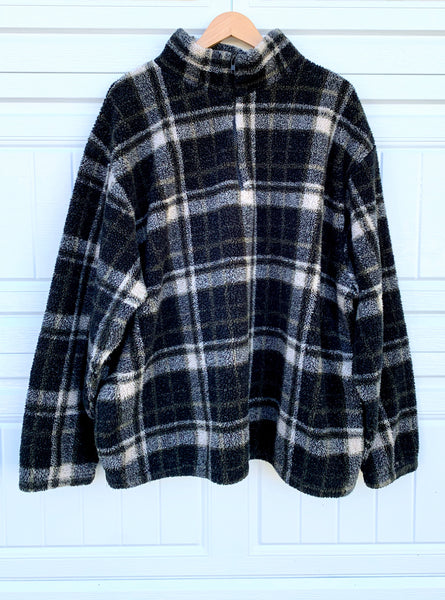 Oversized Plaid Fleece Pullover Sweater - XL