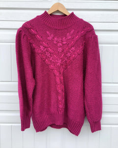 Vintage Braided Ribbon Sweater - Large