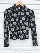 Load image into Gallery viewer, 90s Dark Floral Crop Blouse - Medium