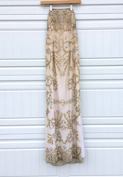Vintage Strapless Beaded Gown - Small