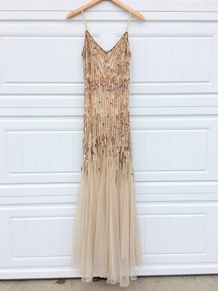 Vintage Beaded Tulle Maxi Dress - 8