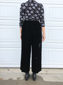 Vintage Wide Leg Velvet Trousers - 14