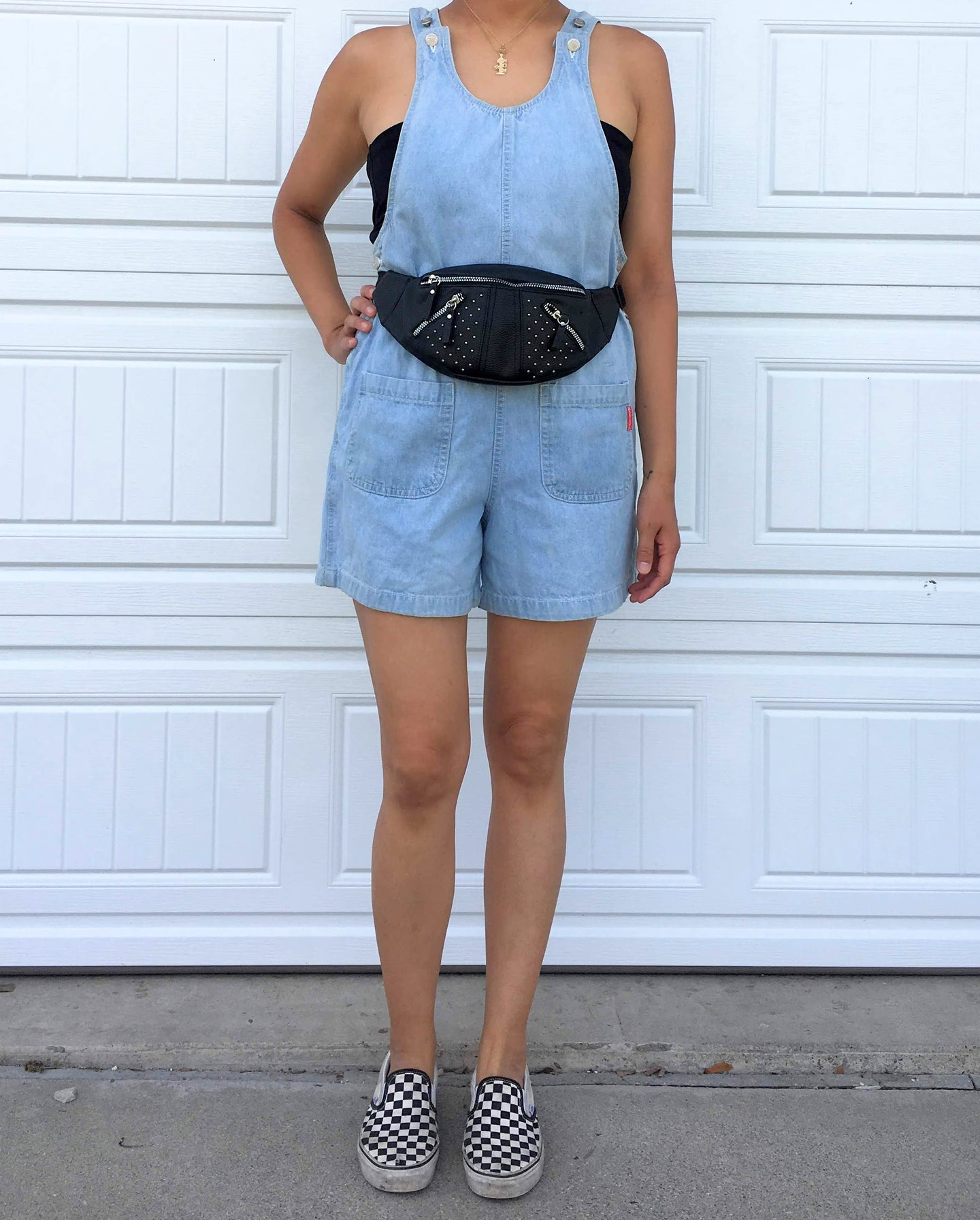 90s Denim Overall Shorts - Medium