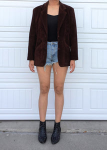Brown Suede Leather Jacket - Medium