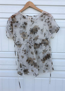 Sheer Floral 90s Blouse - Small
