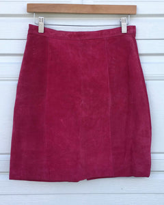 Hot Pink Suede Skirt - Size 28