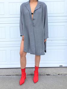 Oversized Pinstripe Blouse/Dress - XL