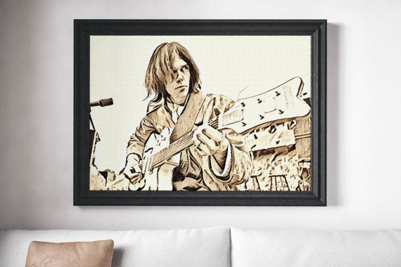 Neil Young Painting Poster Art Painting Print