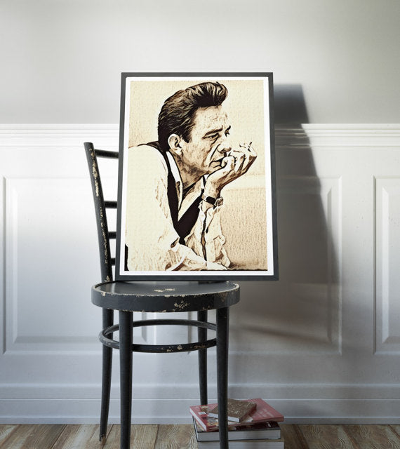 Johnny Cash Poster Johnny Cash Art Painting Print