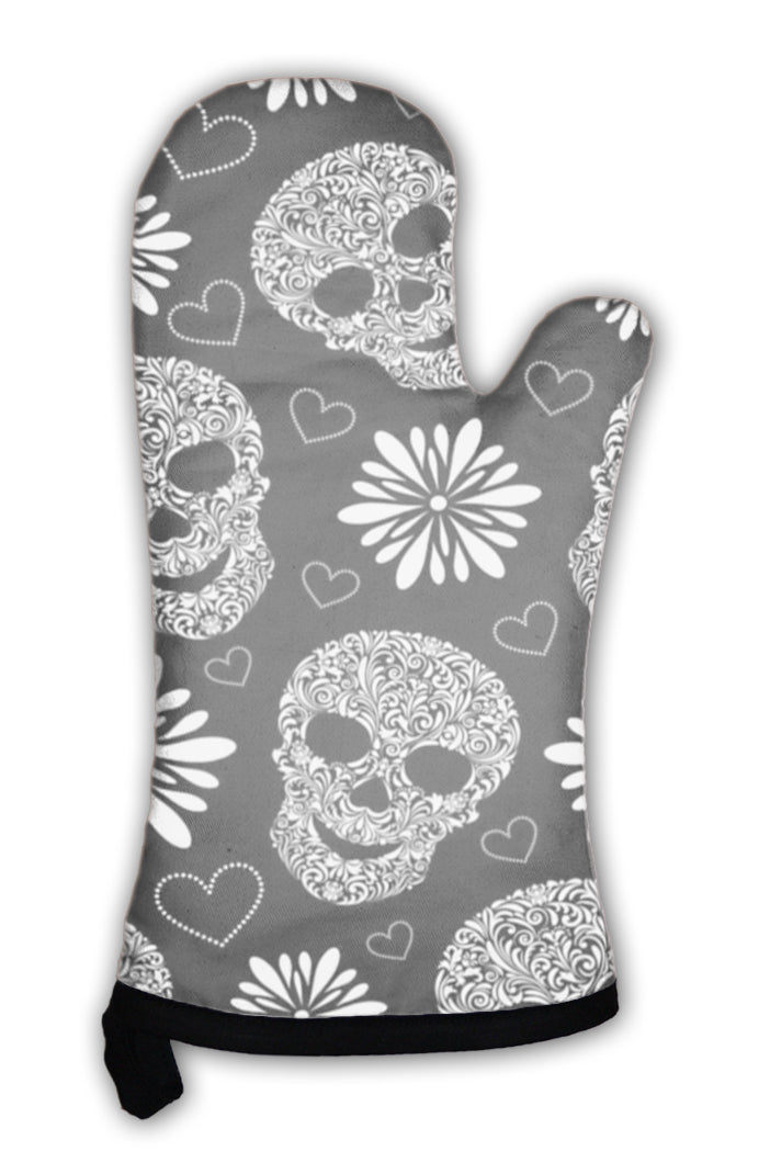 Oven Mitt, Abstract Floral Skulls