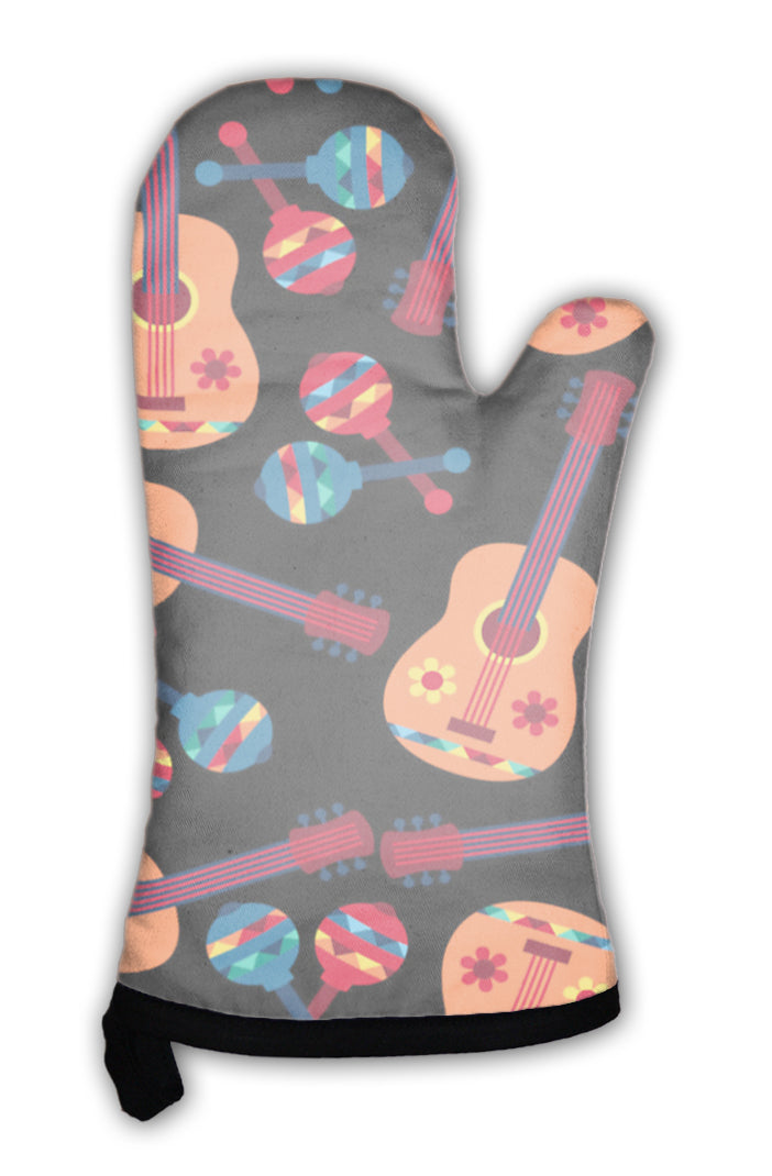 Oven Mitt, Mexican Pattern With Guitars And Maracas