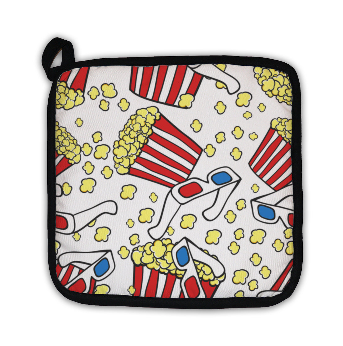 Potholder, Pattern With Cinema Symbols Popcorn And 3d Glasses