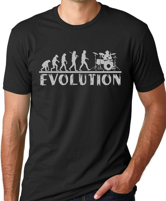 Drummer Evolution T-shirt Music Humor Drums Funny