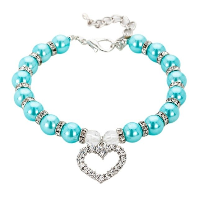 Adjustable Decorative Pet Dogs Collar Dog Cat Pearl Necklace pet Accessories Extension Chain