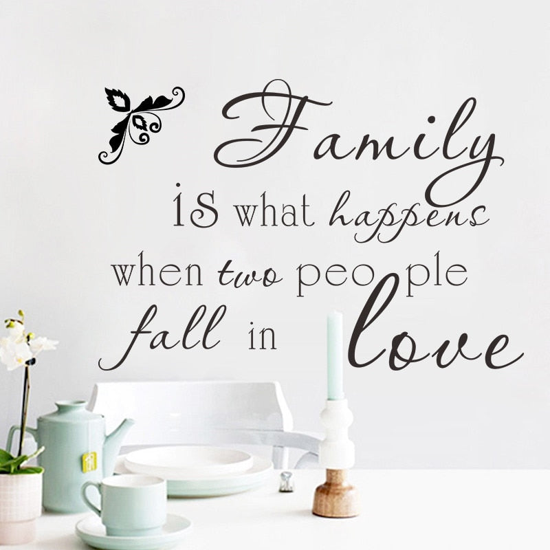 Family is what happen two people fall in Love Wall stickers decals Art Home Bedroom Living Room Decoration Wall Mural Poster