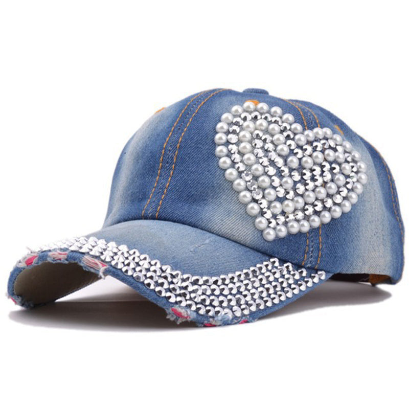Korean Fashion Crystal Floral Denim Baseball Cap Bling Rhinestone Hip Hop Adjustable Snapback Hat for Women