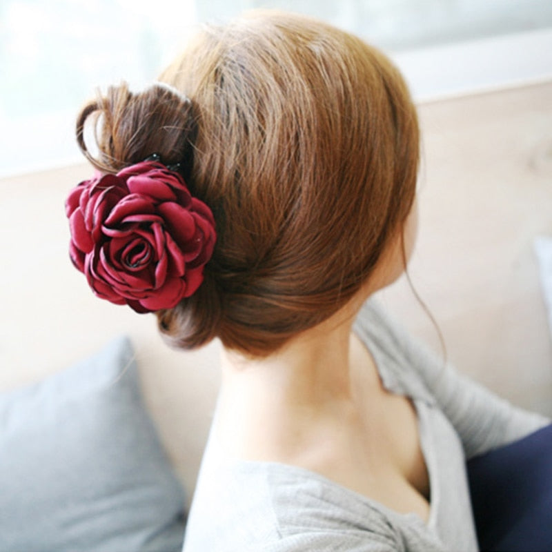 Fashion Korean High Quality Girls Elegance Hair Clips Big Cloth Flowers Plastic Hair Claws Headbands For Women Hair Accessories