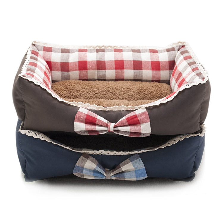 Pet Dog Bed warm Dog House Soft Material Pet Nest Dog Winter Warm Nest Kennel For Cat Puppy Plus size princess bed with bow