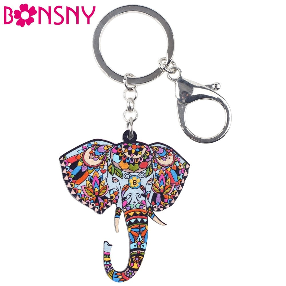 Bonsny Acrylic Animal Jewelry Jungle Elephant Key Chain Key Ring jumbo Pom Gift  Women Girl Bag Charm Keychain Pendant Jewelry