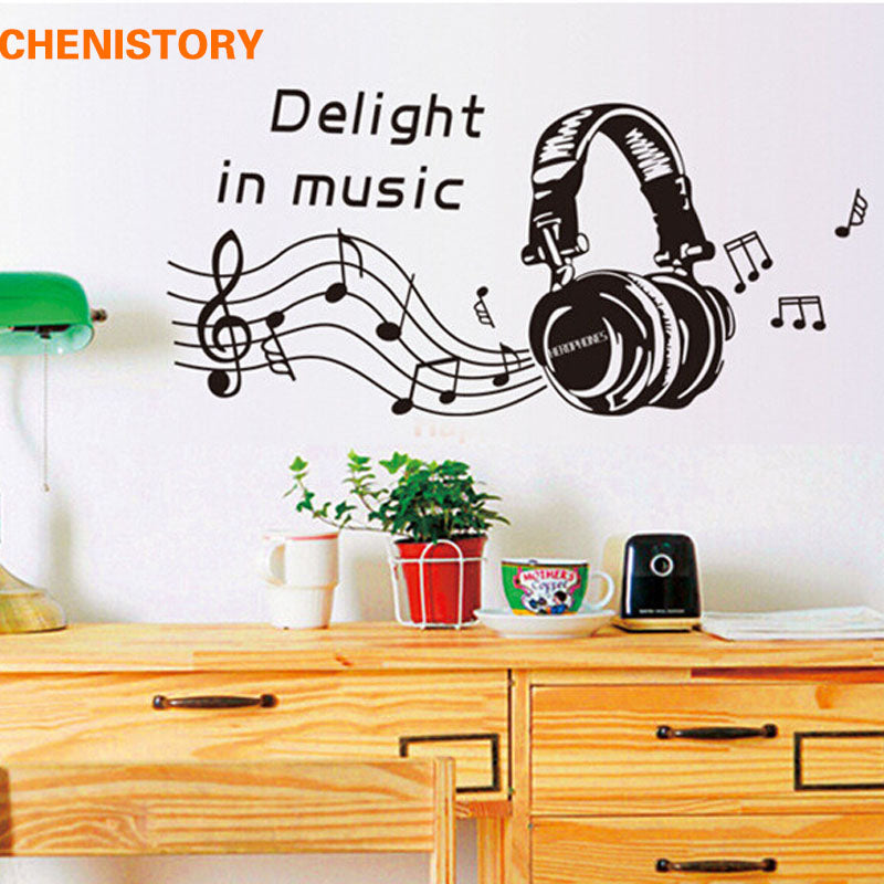 Delight In Music Headset Instrument Wall Stickers Removable Vinyl Wall Decals For Mural Wall Art Stickers Room Decoration