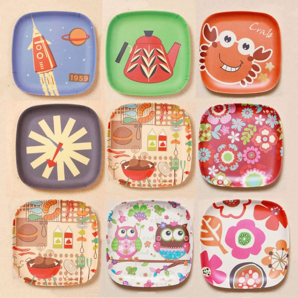 Baby Dinner Cartoon Bamboo Service Plate Kids Tableware Baby cute plate 13.5*13.5cm