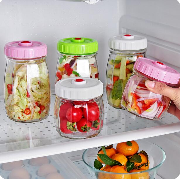 Vacuum Sealed Mason Jar Transparent Glass Jar With Lid Snacks Candy Food Storage Bottle