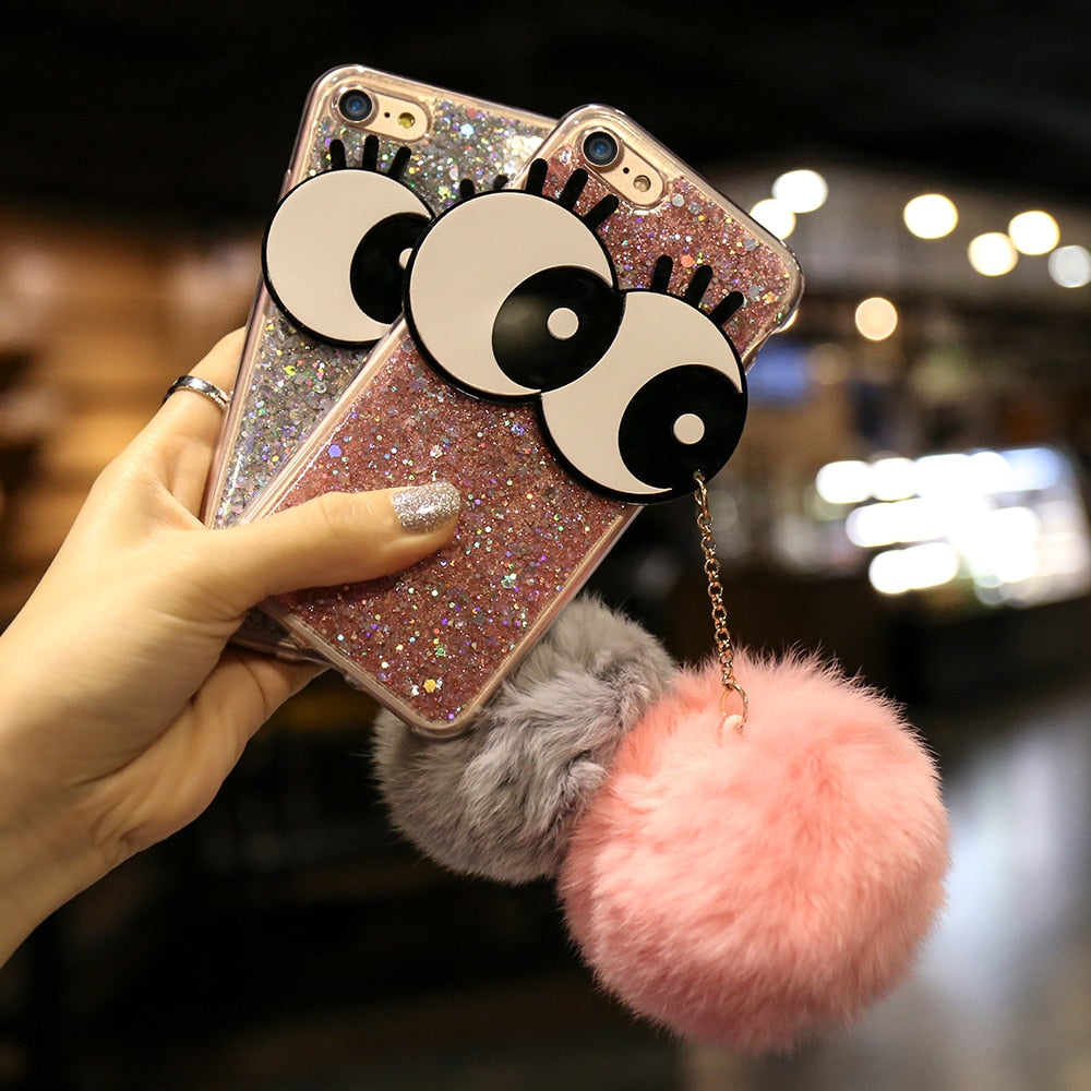 KISSCASE Bling Case For iPhone 7 7 Plus Case Glitter Cartoon Eyes Capa Hair Fur Coque For iPhone 6 6s 7 Case Fundas Shell Bags