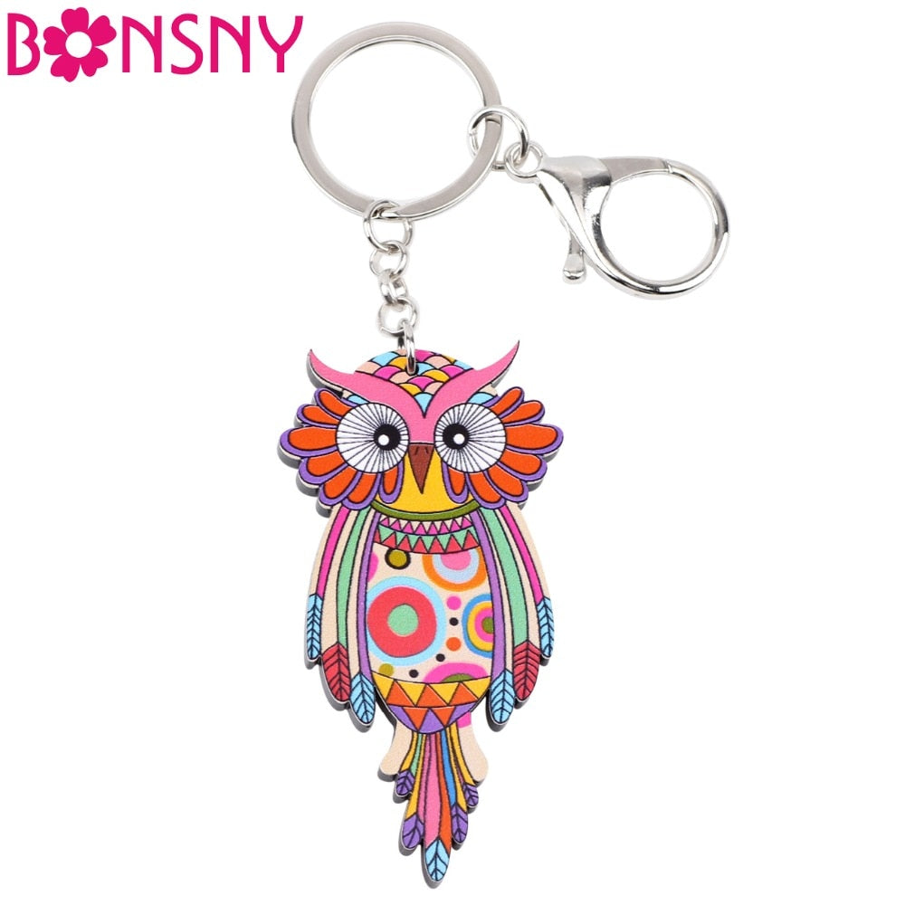 Bonsny Acrylic Animal Bird Jewelry Owl Key Chain Key Ring Pom Gift For Women Girl Bag Charm Keychain Pendant Jewelry Design