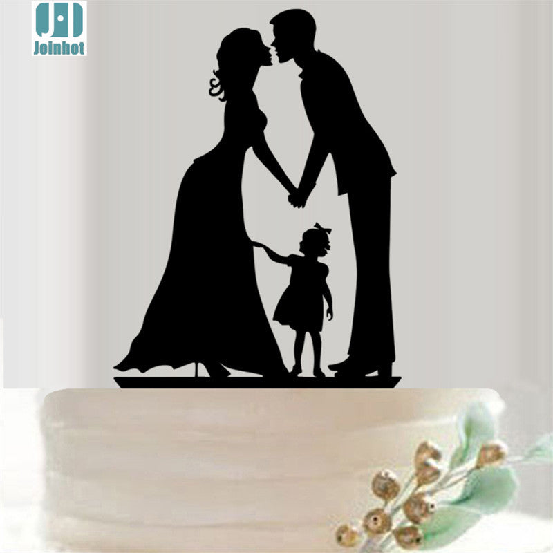 JOINHOT Famliy mother father child  Hollow Acrylic Cake Topper Cake Accessory Wedding Cake Topper Decoration Party Supplies