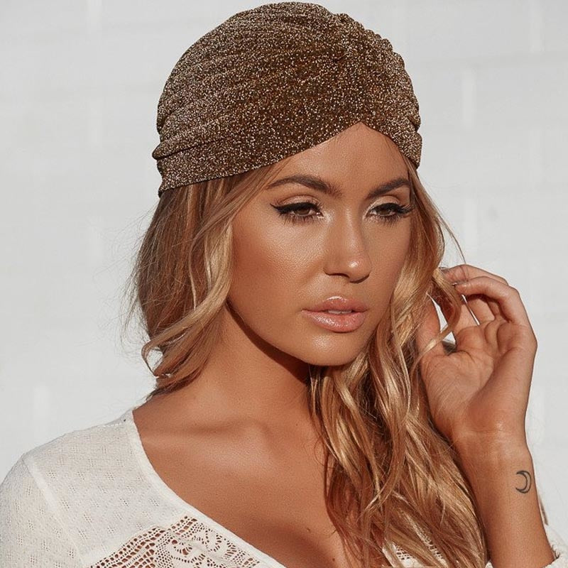 Aproms Women Bling Silver Gold Knot Twist Turban Headbands Cap Autumn Winter Warm Headwear Casual Streetwear Female Indian Hats