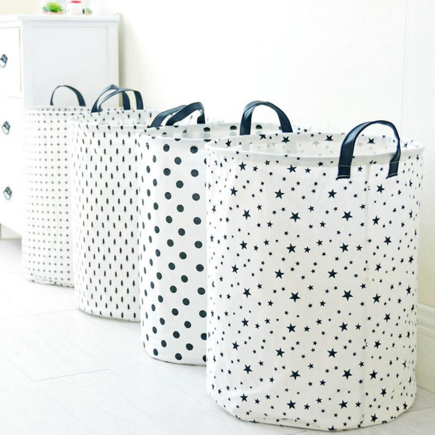 Large Dots Five-pointed star Cloth Laundry Hamper Clothes Storage Baskets Home Clothes barrel Bags kids toys storage organizer