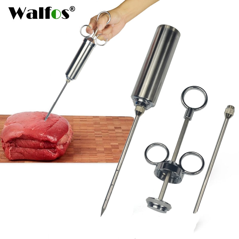 WALFOS Food Flavor Seasoning BBQ Meat Syringe Marinade Injector Kit Injection Gun with 2 Needles for Pork Chicken Turkey