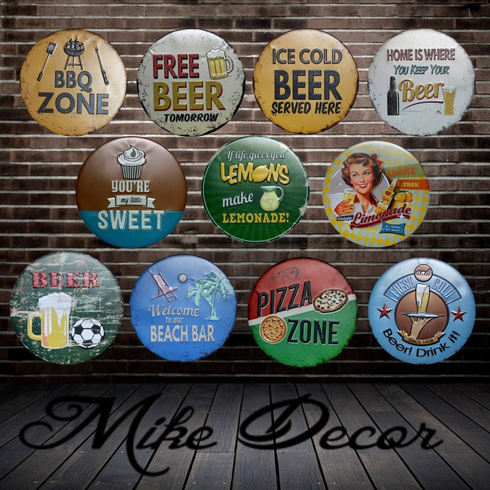 [ Mike Decor ] BBQ ZONE Round Painting Retro Gift Metal Sign Plaque Wall decor YA-967