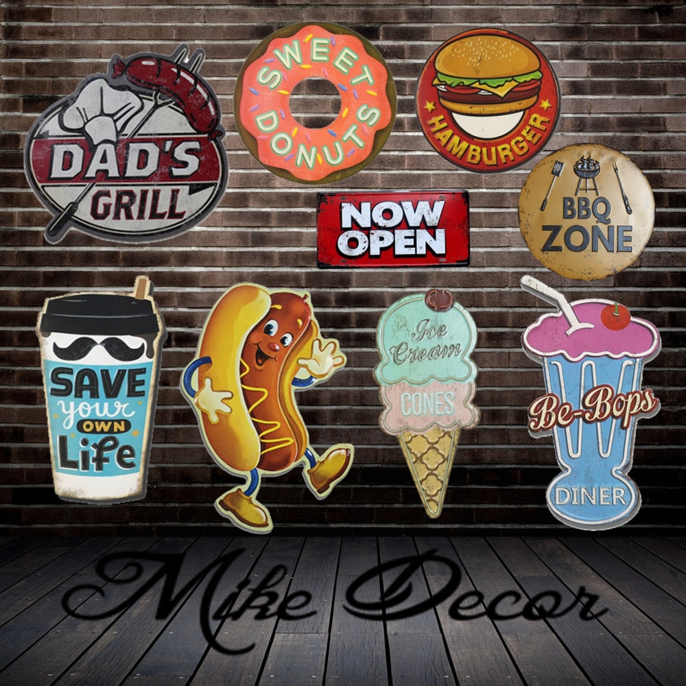 [ Mike Decor ] BBQ HOT DOG CAKE Hamburger ZONE Painting Retro Gift Irregular Metal Sign Plaque Wall decor FZ-1