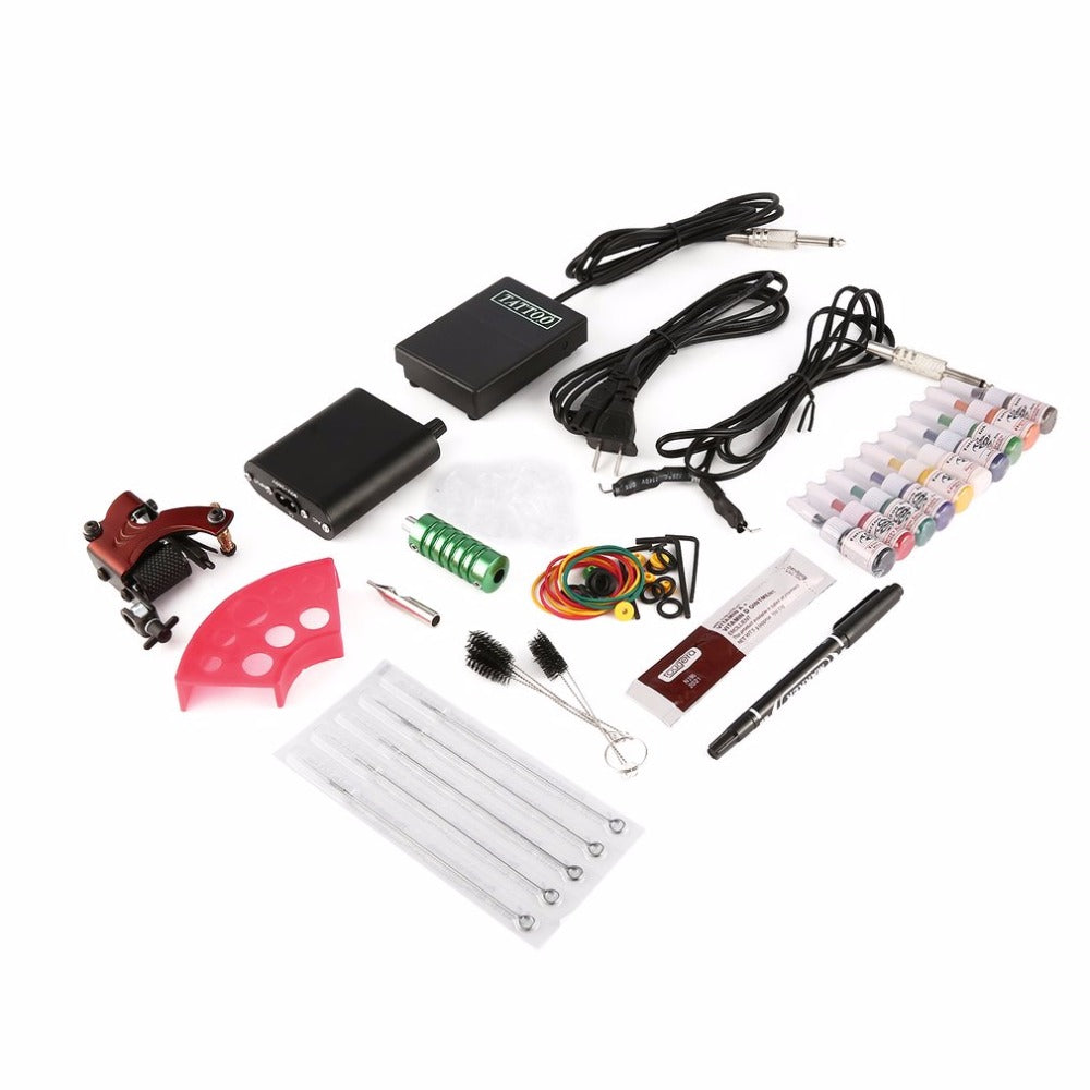 Complete Tattoo kits Pro Gun Machine Power Pedal 10 Color Ink Sets Power Supply Disposable Needle Grip Well Balanced US Plug