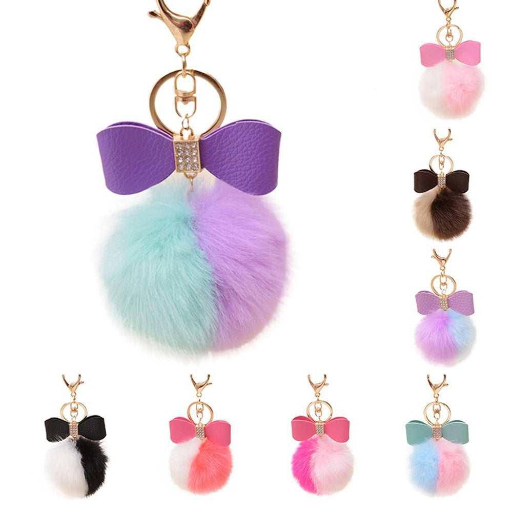 Faux Rabbit Fur Ball Pom Pom Bowknot Charm Car Keychain Handbag Phone Key Ring