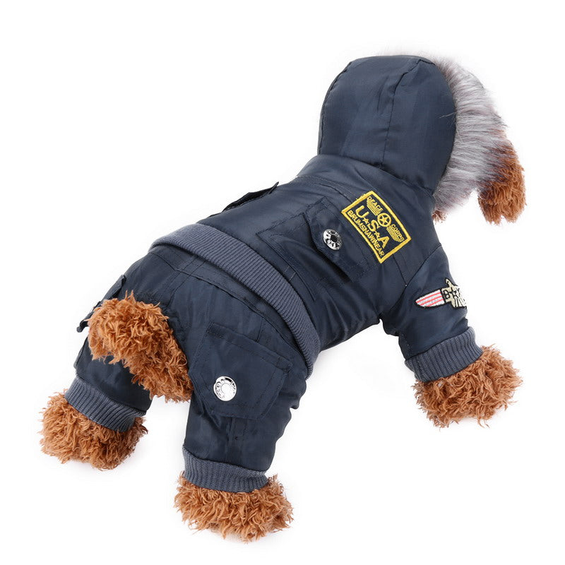 Cool Waterproof USA Pet Dog Coat Clothes Warm Winter Pet Dog Outerwear Jumpsuit Clothes for Dog