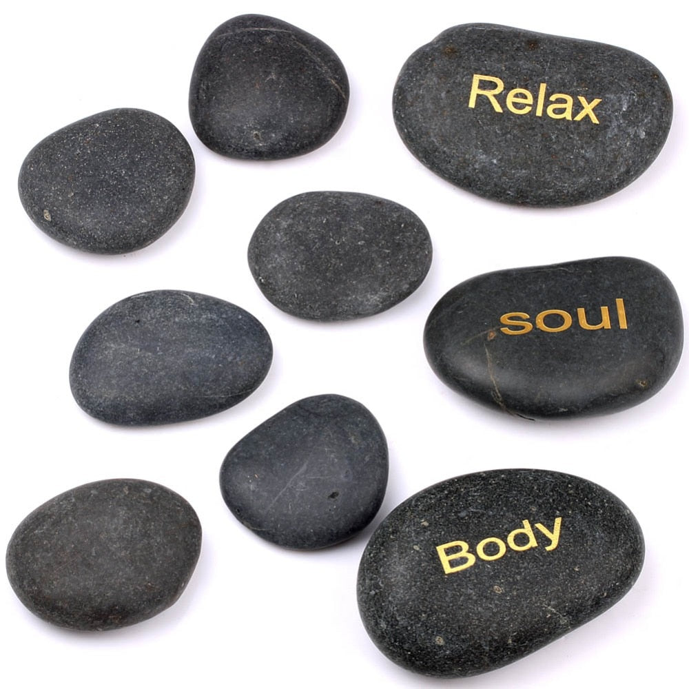 Naturaql Tumbled Crystal Reiki Healing Massage Stones SPA Engraved Inspiral Words Dark River Stone Set of 9