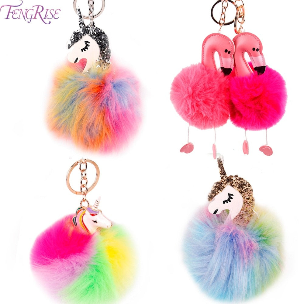 FENGRISE Unicorn Birthday Party Decorations Pom Flamingo Plush Fluffy Key Chain Pompom Ball Unicorn KeyChain Kids Favors Gifts