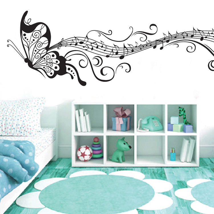Black Music Butterfly Wall Decor Stave Note Wall Stickers PVC Wall Decals/Adhesive Vinyl Home Decoration for Kids Room Removable