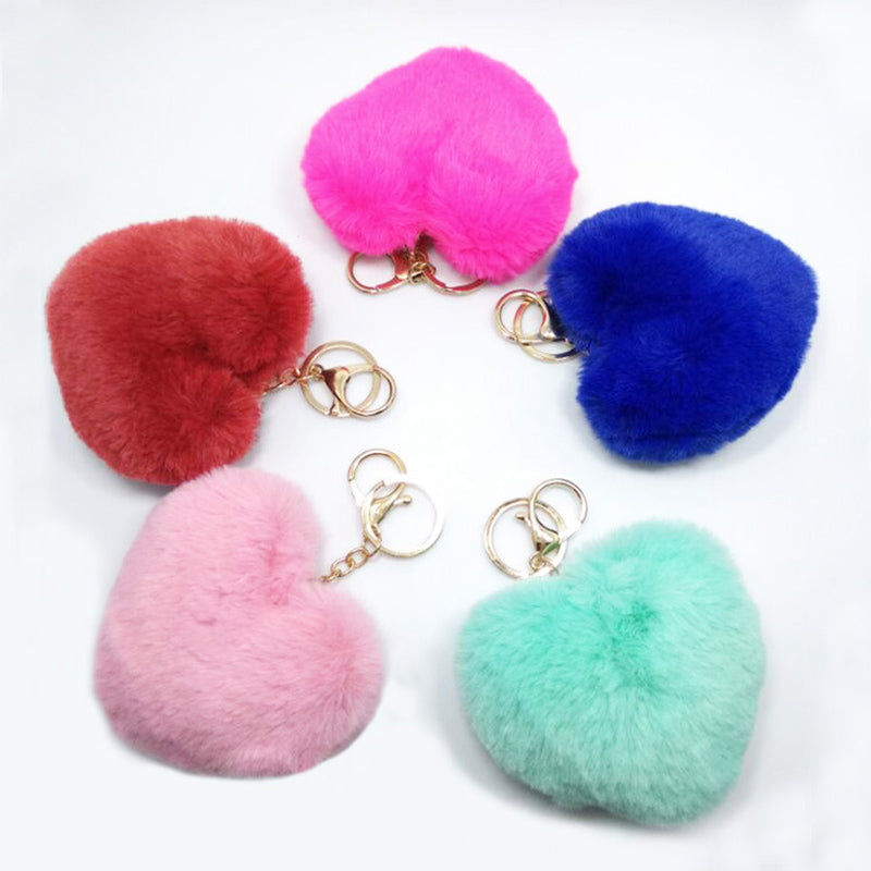 LNRRABC Fashion Women Chic Charm Soft Artificial Rabbit Fur Cute Heart Pom Pom Keychain Keyring Car Bag Jewelry Accessories