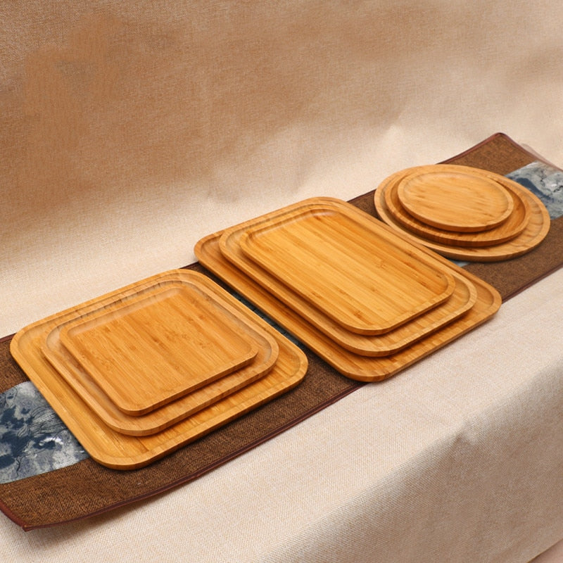 Bamboo Affirmative rectangular circular tray coffee bamboo tea tray hotel supplies thick bamboo plate restaurant disc tray