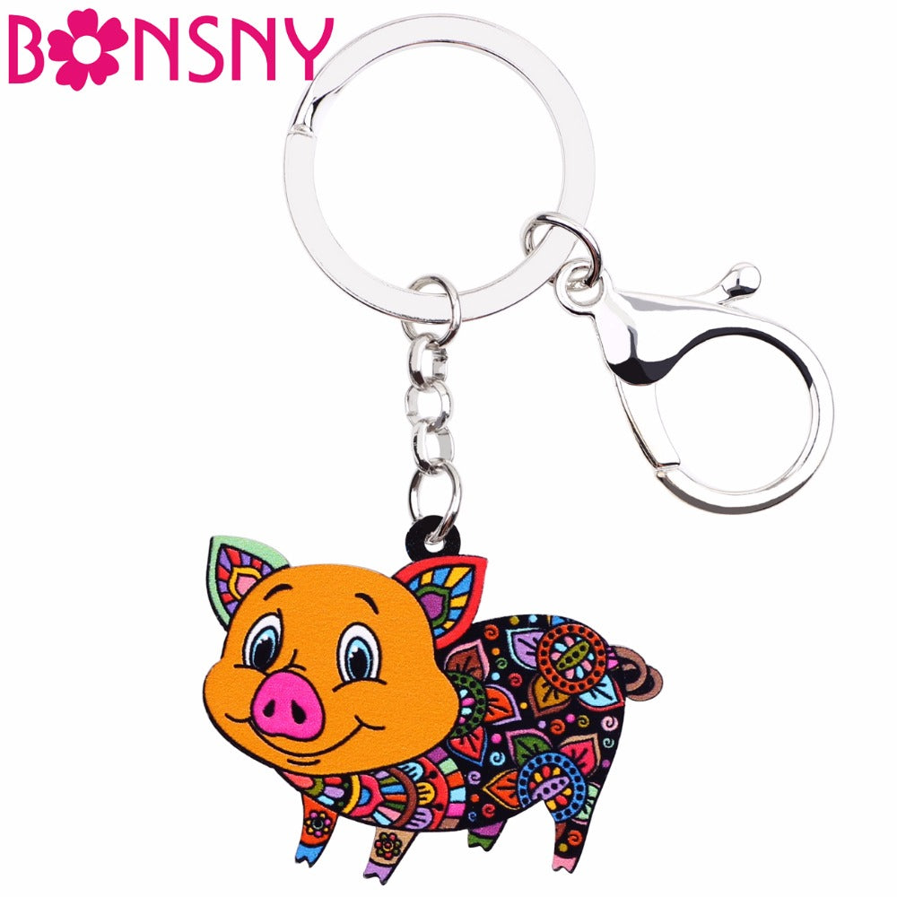 Bonsny Acrylic Farm Collection Pig Piglet piggy Jewelry Key Chain Key Ring Pom Gift For Women Girl Handbag Charms Purse Keychain