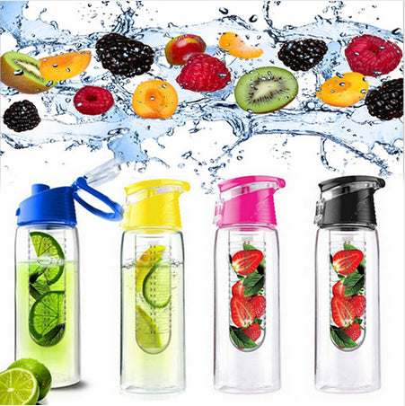 800ML Fruit  Infuser Water Bottle Sports Fitness Health Detox Bottle Flip Lid Lemon Juice Make Bottle Camping Travel Bottles