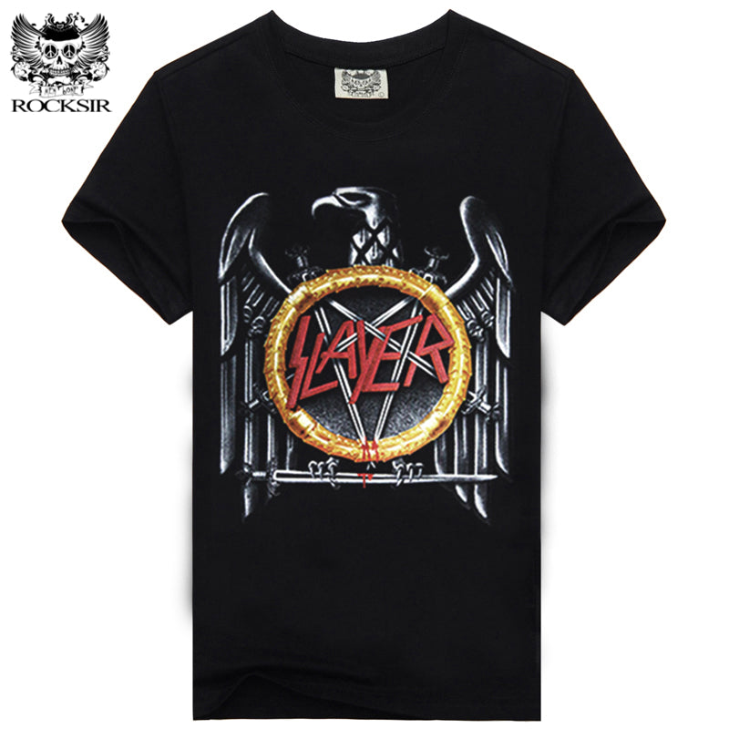 ROCKSIR Band SLAYER Design men's T-shirt Cool Printed Men Cotton Tshirt Casual Rock Tops Hipster Homme Brand Clothing Tees SFY11