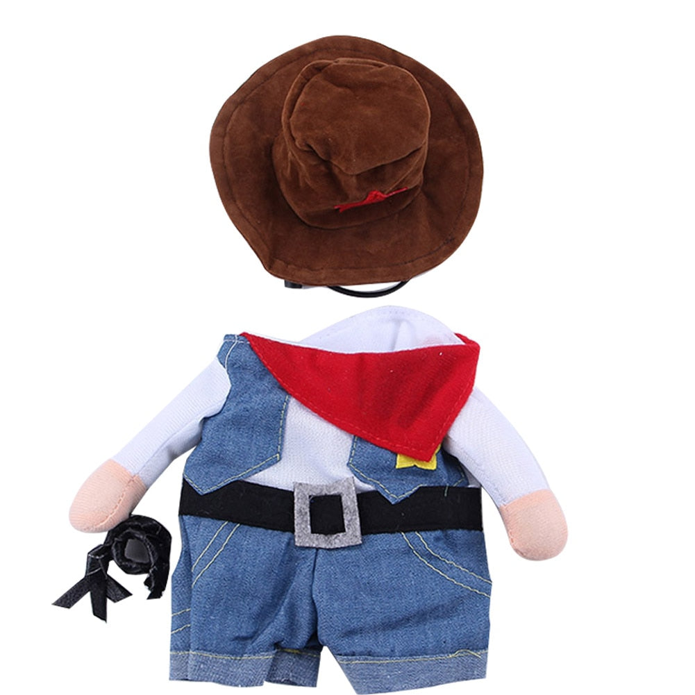 Cat Cosplay Cowboy Funny Costumes With Hat Puppy Jean Coat Party Dress Pet Clothes E2S