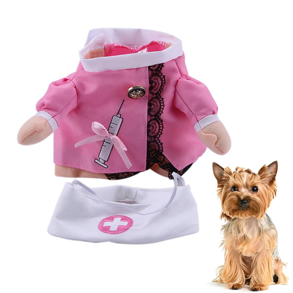Pet Cat Dog Nurse Cosplay Clothes Halloween Cool Cute Costume Funny Coat Party Dress E2S